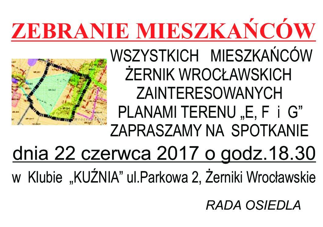 """ZEBRANIE Z MIESZKAŃCAMI w SPRAWIE TERENU """"G"""", """"E"""", """"F"""" - 22.06.2018 godz. 18.30"""