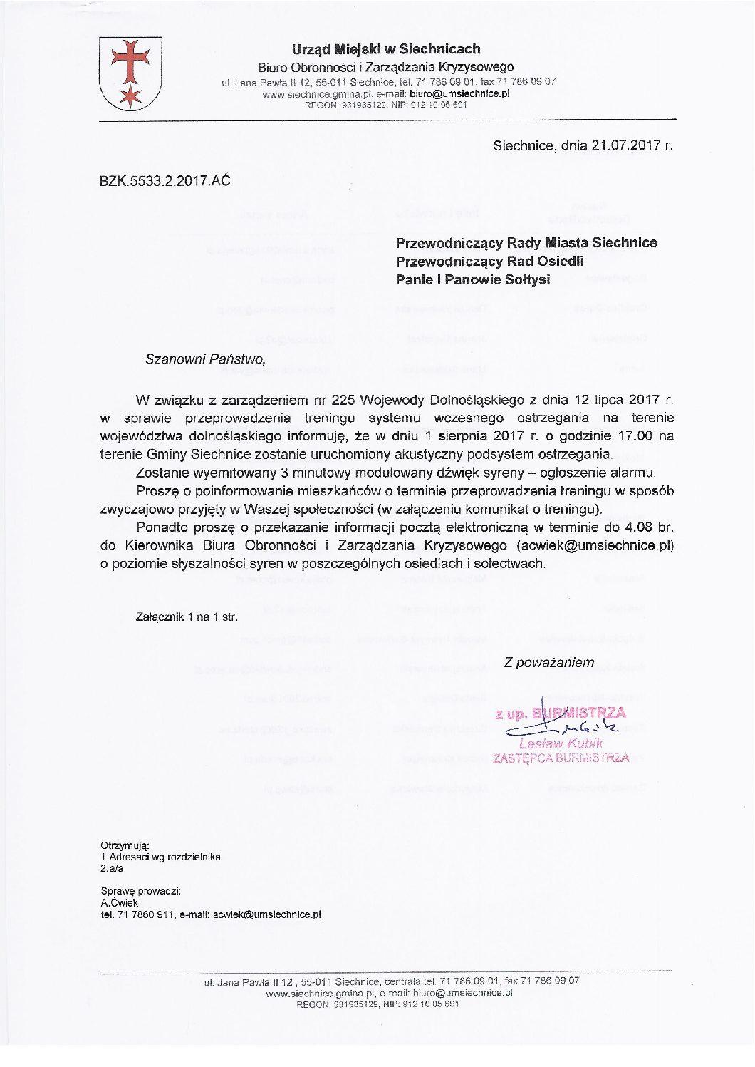 1 Sierpnia 2017 o godzinie 17.00 zostanie wyemitowany akustyczny podsystem ostrzegania na terenie Gminy Siechnice.
