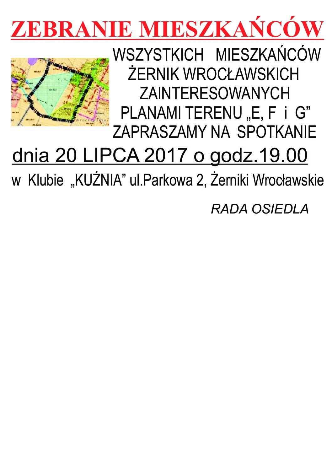 Zebranie mieszkańców Żerniki Wrocławskie teren E,F i G - 20.07.2017 o godz. 19.00